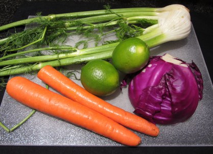 Red Cabbage, Fennel, and Carrot Salad Ingredients