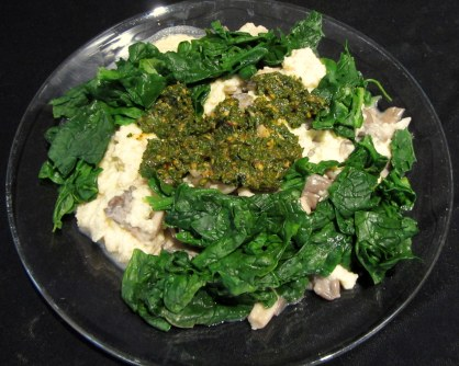 Scrambled Eggs with Oyster Mushrooms, Spinach and Chermoula Sauce