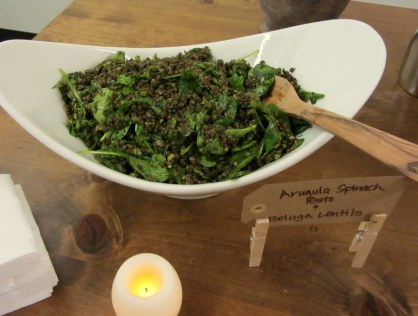 Arugula Spinach Pesto and Beluga Lentils