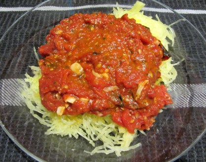 Spaghetti Squash with Grilled Tomato and Pesto Sauce